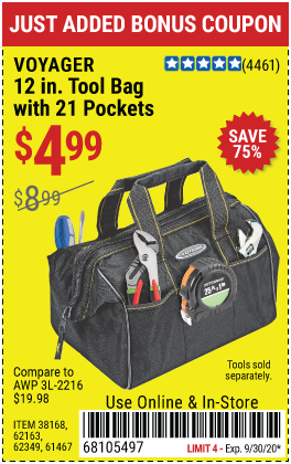 Harbor Freight Tools Coupons, Harbor Freight Coupon, HF Coupons-VOYAGER 12 in. Tool Bag with 21 Pockets for $4.99