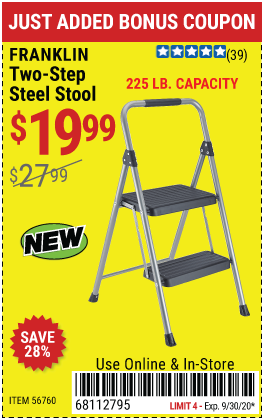 Harbor Freight Tools Coupons, Harbor Freight Coupon, HF Coupons-FRANKLIN Two-Step Steel Stool for $19.99