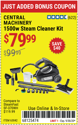 Harbor Freight Tools Coupons, Harbor Freight Coupon, HF Coupons-CENTRAL MACHINERY 1500 Watt Steam Cleaner Kit for $79.99