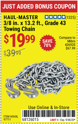 Harbor Freight Tools Coupons, Harbor Freight Coupon, HF Coupons-HAUL-MASTER 3/8 in. x 14 ft. Grade 43 Towing Chain for $19.99