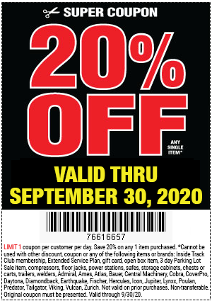 Harbor Freight Tools Coupons, Harbor Freight Coupon, HF Coupons-20% Off Any Single Item at Harbor Freight through September 30, 2020