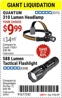 Harbor Freight Tools Coupons, Harbor Freight Coupon, HF Coupons-QUANTUM 310 Lumen Headlamp or 588 Lumen Tactical Flashlight for $9.99