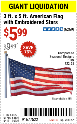 Harbor Freight Tools Coupons, Harbor Freight Coupon, HF Coupons-3 Ft. X 5 Ft. American Flag With Embroidered Stars for $5.99