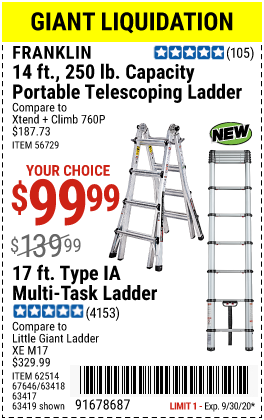 Harbor Freight Tools Coupons, Harbor Freight Coupon, HF Coupons-FRANKLIN 17 Ft. Type IA Multi-Task Ladder for $99.99