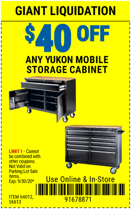 Harbor Freight Tools Coupons, Harbor Freight Coupon, HF Coupons-Save $40 Off ANY Yukon Mobile Storage Cabinet