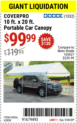 Harbor Freight Tools Coupons, Harbor Freight Coupon, HF Coupons-COVERPRO 10 Ft. X 20 Ft. Portable Car Canopy for $99.99