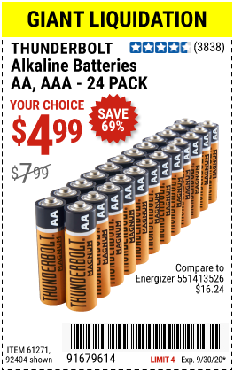 Harbor Freight Tools Coupons, Harbor Freight Coupon, HF Coupons-THUNDERBOLT Alkaline Batteries for $4.99