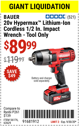 Harbor Freight Tools Coupons, Harbor Freight Coupon, HF Coupons-BAUER 20V Hypermax Lithium 1/2 In. Impact Wrench for $89.99