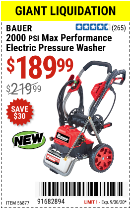 Harbor Freight Tools Coupons, Harbor Freight Coupon, HF Coupons-BAUER 2000 PSI Max Performance Electric Pressure Washer for $189.99