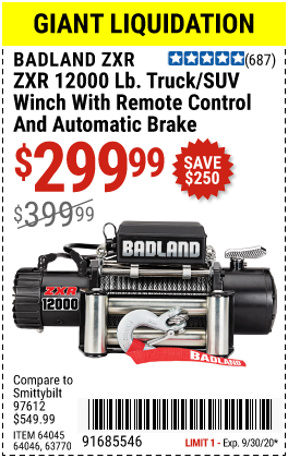 Harbor Freight Tools Coupons, Harbor Freight Coupon, HF Coupons-BADLAND 12000 Lbs. Off-Road Vehicle Electric Winch for $299.99