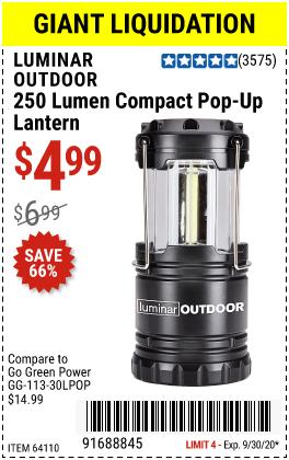 Harbor Freight Tools Coupons, Harbor Freight Coupon, HF Coupons-LUMINAR OUTDOOR 250 Lumen Compact Pop-Up Lantern for $4.99
