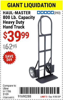 Harbor Freight Tools Coupons, Harbor Freight Coupon, HF Coupons-HAUL-MASTER 800 lb. Capacity Heavy Duty Hand Truck for $39.99