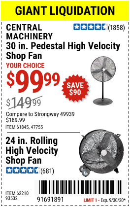Harbor Freight Tools Coupons, Harbor Freight Coupon, HF Coupons-CENTRAL MACHINERY High Velocity Shop Fans for $119.99