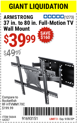 Harbor Freight Tools Coupons, Harbor Freight Coupon, HF Coupons-ARMSTRONG 37 in. to 80 in. Full-Motion TV Wall Mount for $39.99