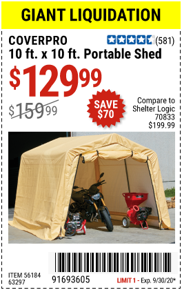 Harbor Freight Tools Coupons, Harbor Freight Coupon, HF Coupons-COVERPRO 10 Ft. X 10 Ft. Portable Shed for $129.99