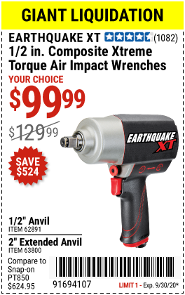 Harbor Freight Tools Coupons, Harbor Freight Coupon, HF Coupons-EARTHQUAKE XT 1/2 in. Composite Xtreme Torque Air Impact Wrenches for $99.99