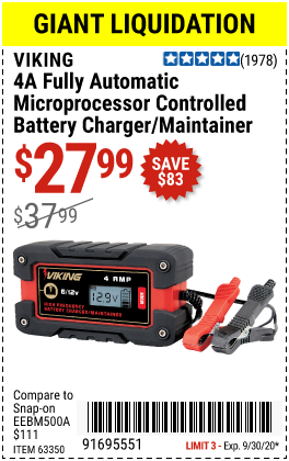 Harbor Freight Tools Coupons, Harbor Freight Coupon, HF Coupons-VIKING 4 Amp Fully Automatic Microprocessor Controlled Battery Charger/Maintainer for $27.99