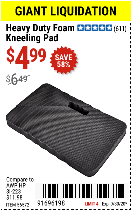 Harbor Freight Tools Coupons, Harbor Freight Coupon, HF Coupons-Heavy Duty Foam Kneeling Pad for $4.99