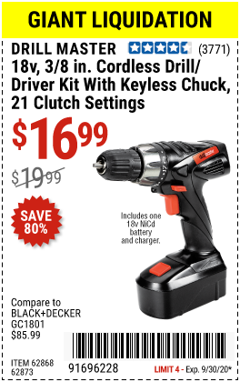 Harbor Freight Tools Coupons, Harbor Freight Coupon, HF Coupons-DRILL MASTER 18V 3/8 in. Cordless Drill/Driver Kit for $16.99