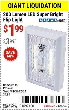 Harbor Freight Tools Coupons, Harbor Freight Coupon, HF Coupons-200 Lumen LED Super Bright Flip Light for $1.99