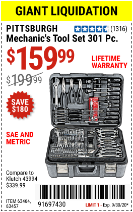 Harbor Freight Tools Coupons, Harbor Freight Coupon, HF Coupons-PITTSBURGH 301 Pc Mechanic's Tool Set for $159.99