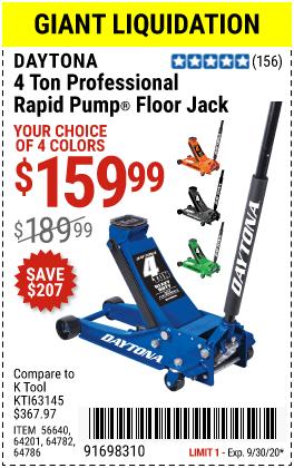Harbor Freight Tools Coupons, Harbor Freight Coupon, HF Coupons-DAYTONA 4 Ton Professional Rapid Pump� Floor Jack for $159.99