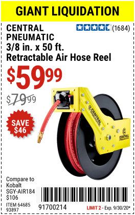 Harbor Freight Tools Coupons, Harbor Freight Coupon, HF Coupons-CENTRAL PNEUMATIC 3/8 In. X 50 Ft. Retractable Hose Reel for $59.99