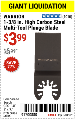 Harbor Freight Tools Coupons, Harbor Freight Coupon, HF Coupons-WARRIOR 1-3/8 in. High Carbon Steel Multi-Tool Plunge Blade for $3.99