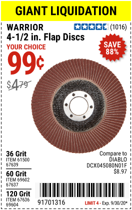 Harbor Freight Tools Coupons, Harbor Freight Coupon, HF Coupons-WARRIOR 4-1/2 in. Flap Discs for $0.99