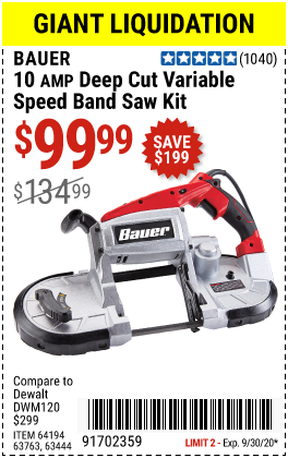 Harbor Freight Tools Coupons, Harbor Freight Coupon, HF Coupons-BAUER 10 Amp Deep Cut Variable Speed Band Saw Kit for $99.99