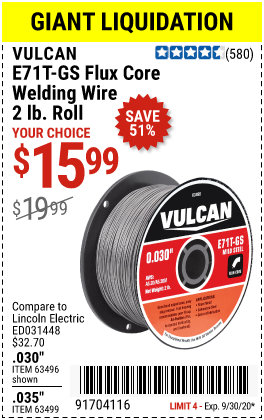 Harbor Freight Tools Coupons, Harbor Freight Coupon, HF Coupons-VULCAN E71T-GS Flux Core Welding Wire 2.00 lb. Roll for $15.99