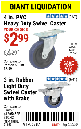 Harbor Freight Tools Coupons, Harbor Freight Coupon, HF Coupons-HFT Swivel Casters for $2.99