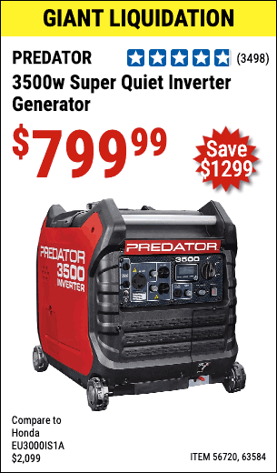 Harbor Freight Tools Coupons, Harbor Freight Coupon, HF Coupons-PREDATOR 3500 Watt Super Quiet Inverter Generator for $799.99 - No Coupon Needed
