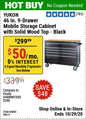 Harbor Freight Tools Coupons, Harbor Freight Coupon, HF Coupons-YUKON 46 In. 9-Drawer Mobile Storage Cabinet With Solid Wood Top for $299.99
