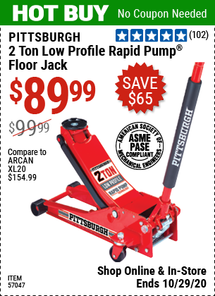 Harbor Freight Tools Coupons, Harbor Freight Coupon, HF Coupons-PITTSBURGH 2 Ton Low Profile Rapid Pump® Floor Jack for $89.99