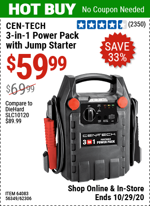 Harbor Freight Tools Coupons, Harbor Freight Coupon, HF Coupons-CEN-TECH 3-In-1 Portable Power Pack With Jump Starter for $59.99