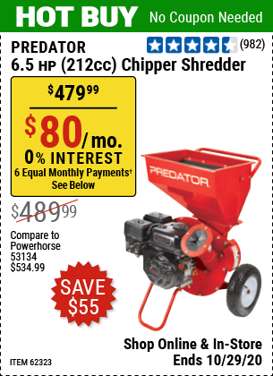 Harbor Freight Tools Coupons, Harbor Freight Coupon, HF Coupons-PREDATOR 6.5 HP (212cc) Chipper Shredder for $479.99