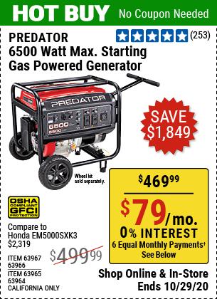 Harbor Freight Tools Coupons, Harbor Freight Coupon, HF Coupons-PREDATOR 6500 Watt Max Starting Gas Powered Generator for $469.99