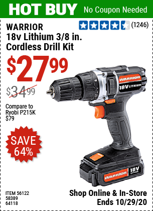 Harbor Freight Tools Coupons, Harbor Freight Coupon, HF Coupons-WARRIOR 18V Lithium 3/8 in. Cordless Drill Kit for $27.99