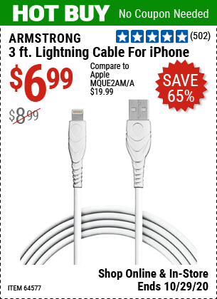 Harbor Freight Tools Coupons, Harbor Freight Coupon, HF Coupons-ARMSTRONG 3 Ft. Lightning Cable for iPhone for $6.99