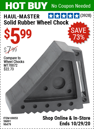 Harbor Freight Tools Coupons, Harbor Freight Coupon, HF Coupons-HAUL-MASTER Solid Rubber Wheel Chock for $5.99