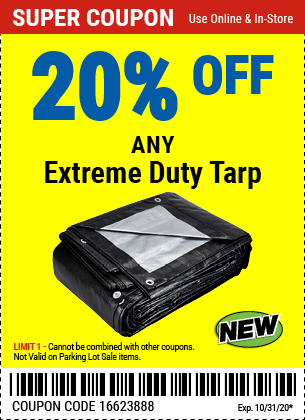 Harbor Freight Tools Coupons, Harbor Freight Coupon, HF Coupons-20% Off Any Extreme Duty Tarp