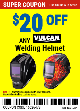 Harbor Freight Tools Coupons, Harbor Freight Coupon, HF Coupons-$20 Off Any Vulcan Welding Helmet