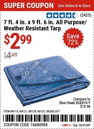 Harbor Freight Tools Coupons, Harbor Freight Coupon, HF Coupons-HFT 7 ft. 4 in. x 9 ft. 6 in. Blue All Purpose/Weather Resistant Tarp for $2.99