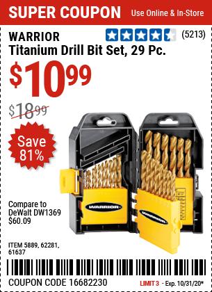 Harbor Freight Tools Coupons, Harbor Freight Coupon, HF Coupons-WARRIOR Titanium Drill Bit Set 29 Pc for $10.99