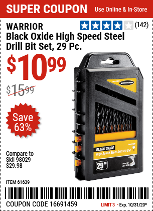 Harbor Freight Tools Coupons, Harbor Freight Coupon, HF Coupons-WARRIOR High Speed Steel Drill Bit Set 29 Pc. for $10.99