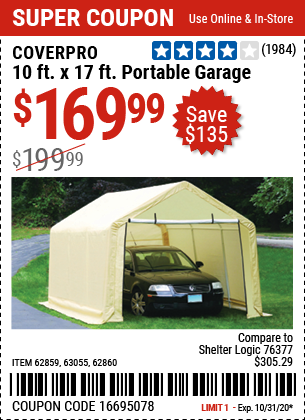 Harbor Freight Tools Coupons, Harbor Freight Coupon, HF Coupons-COVERPRO 10 Ft. X 17 Ft. Portable Garage for $169.99
