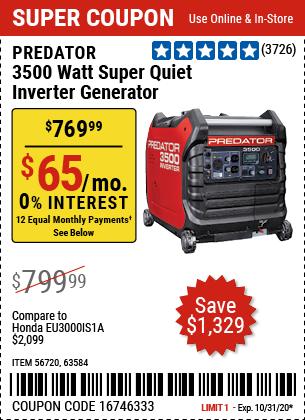 Harbor Freight Tools Coupons, Harbor Freight Coupon, HF Coupons-PREDATOR 3500 Watt Super Quiet Inverter Generator for $769.99