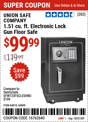 Harbor Freight Tools Coupons, Harbor Freight Coupon, HF Coupons-UNION SAFE COMPANY 1.51 cu. ft. Electronic Lock Gun Floor Safe for $99.99