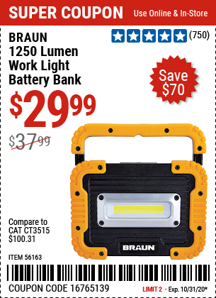 Harbor Freight Tools Coupons, Harbor Freight Coupon, HF Coupons-BRAUN 1250 Lumen Work Light Battery Bank for $29.99